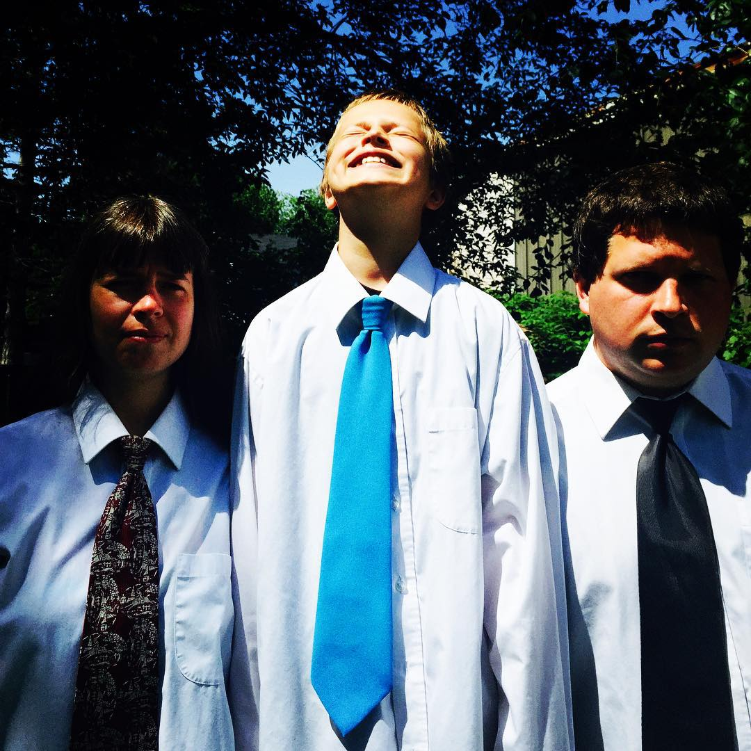 #tiedayfriday guest starring the Kovtun clan visiting from Prague wearing 3 of Jerry's ties #choirboy