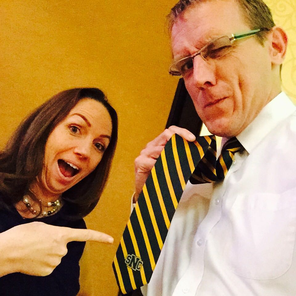 Rocking my @stnorbert tie at #flexlearning2015 with @tanyajoosten for #tiedayfriday