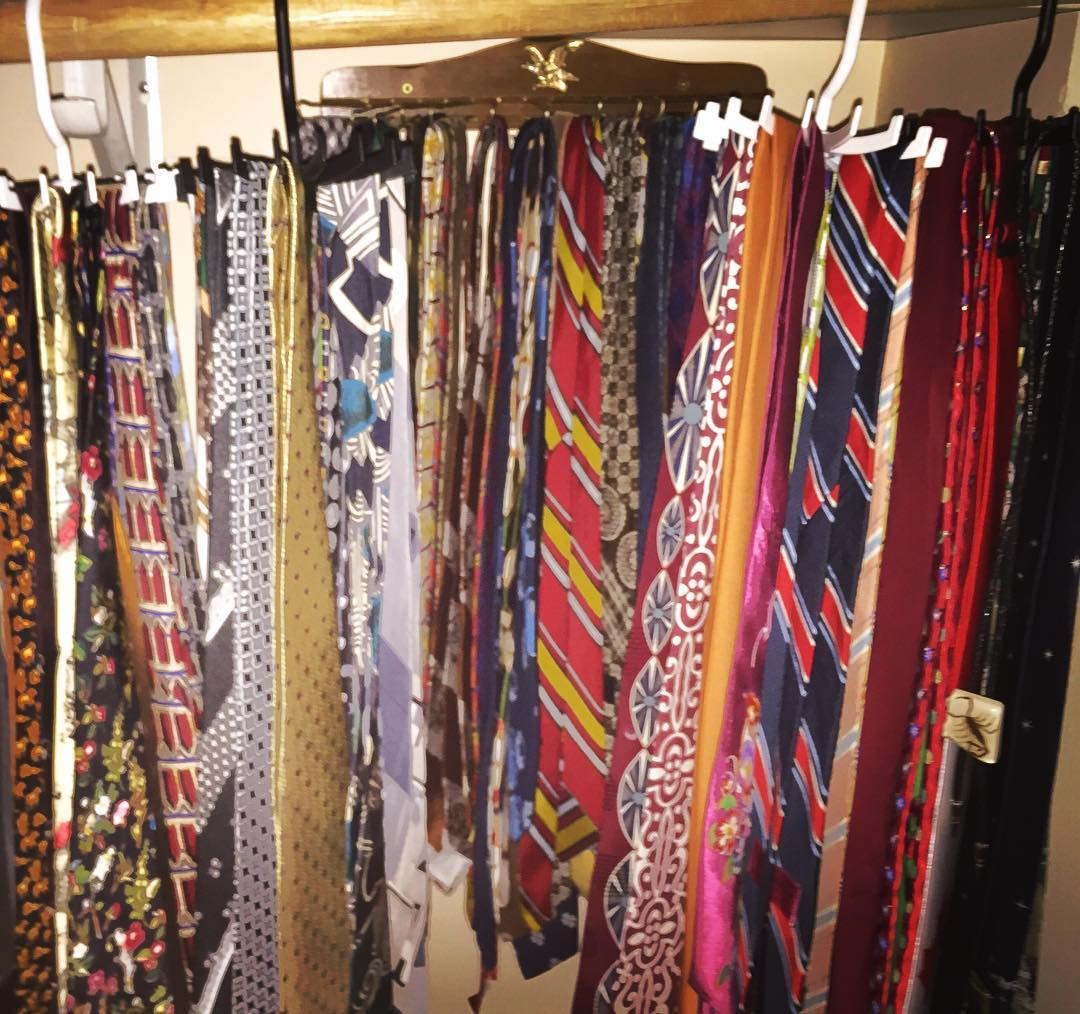 All the ties in one place with Jerry's wall rack in back. Bring it on #tiedayfriday ;)