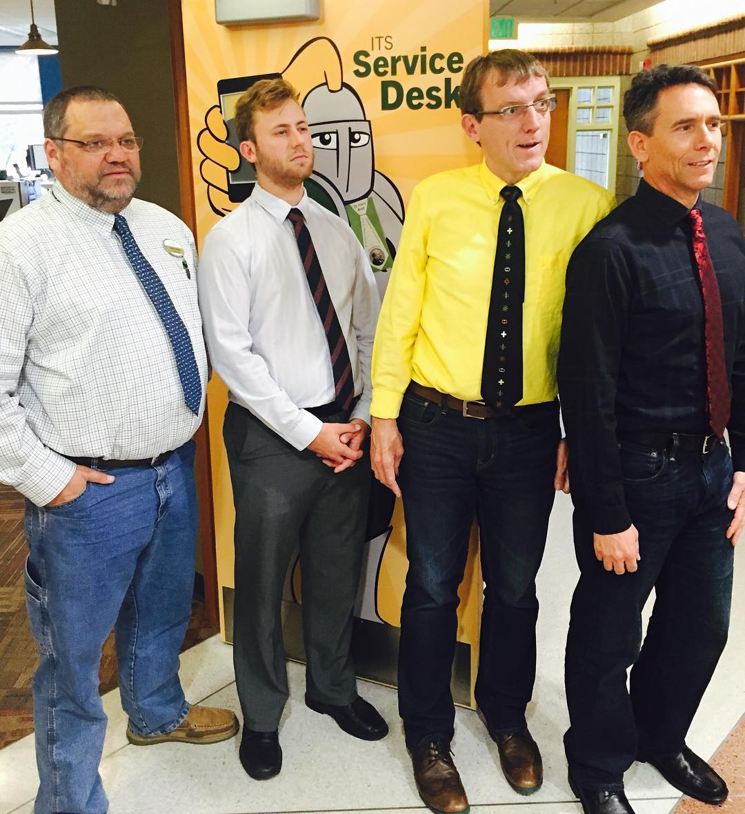Part of the @stnorbert ITS crew #tiedayfriday w/ paper cameo by our Masculinity Scholar Dr Harry Brod c/o @snccvc