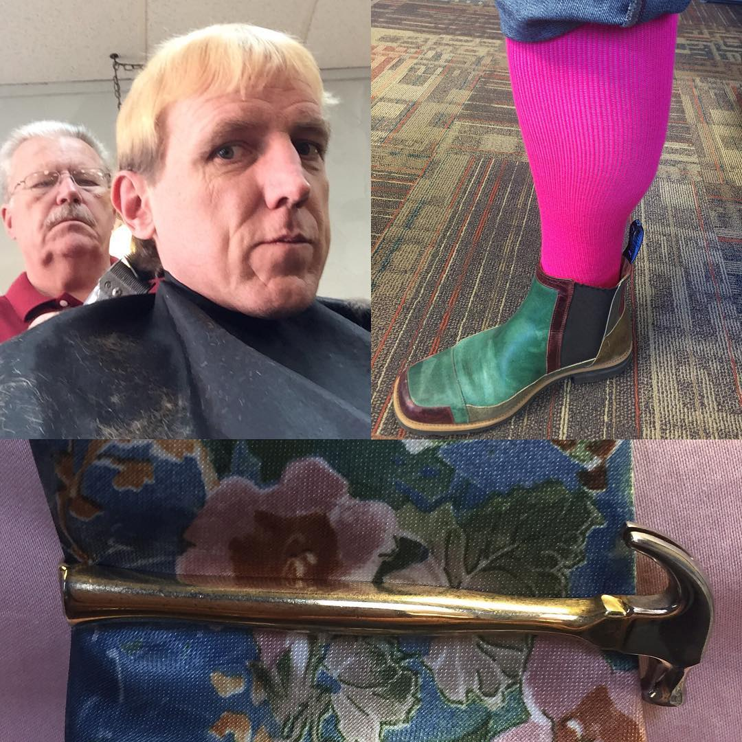 Pink socks, flowers, haircut, and a hammer for #tiedayfriday & #sncpinkout