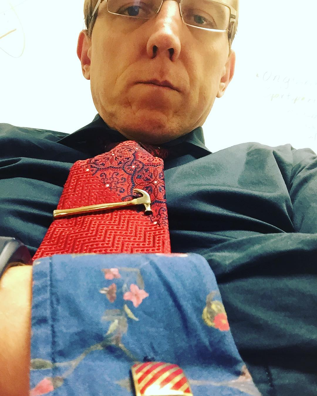 Vintage cuff links, hammer clip, and flowers for #tiedayfriday
